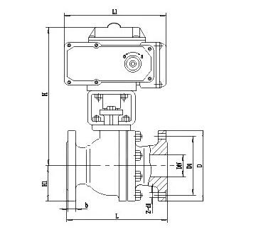 ZDJR电动O型调节球阀结构图