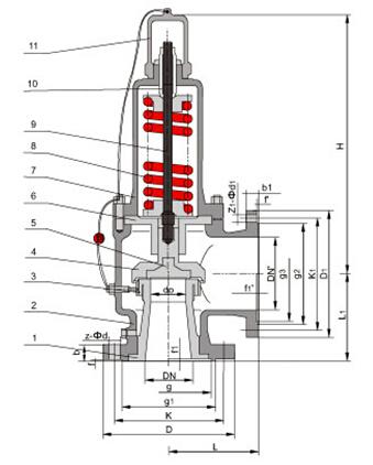 ka41y/ka42y抗硫安全阀结构图