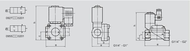 0927系列常闭0955系列常开二位二通先导式膜片电磁阀图片