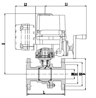 QB941F防爆电动球阀主要连接尺寸