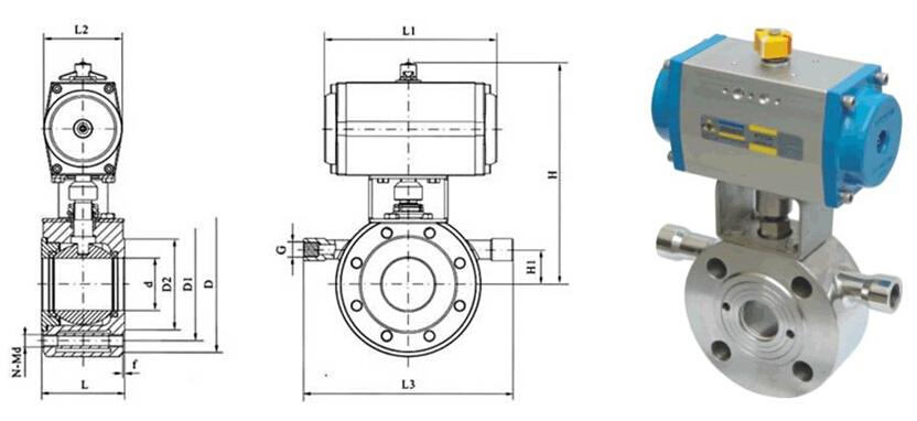 bq671f超薄型保温气动球阀外形结构图