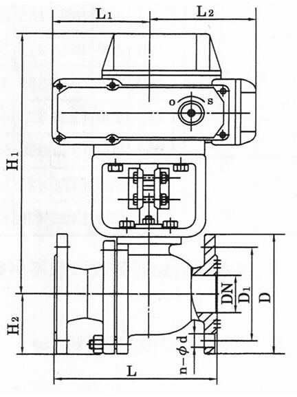 Q941F电动法兰球阀主要外形及连接尺寸