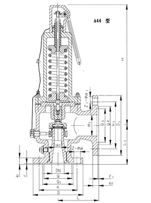 a44y带扳手弹簧全启式安全阀,结构图