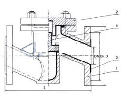H41J升降式衬胶止回阀 结构图