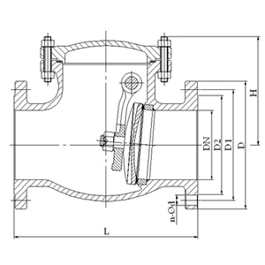 h44旋启式止回阀,结构图