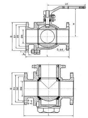 三通球阀结构图